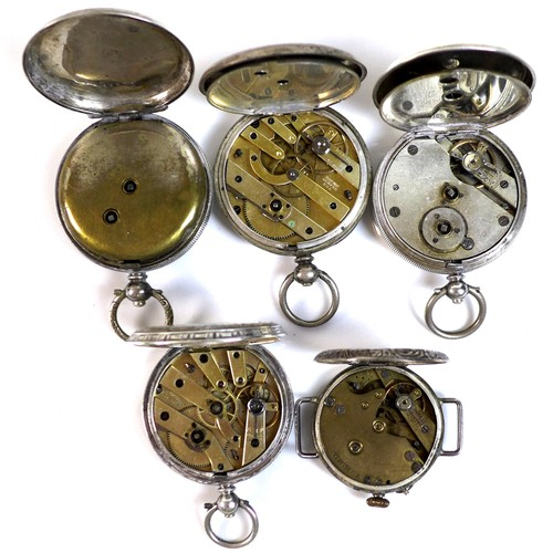 244 - Four silver cased pocket watches, together with a silver watch head converted from a pocket watch. (...