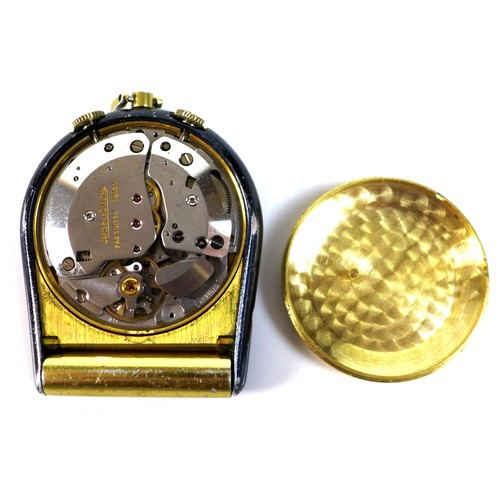 213 - A vintage Jaeger LeCoultre pocket alarm clock, circa 1969, ref 11074.71, the brushed gold dial with ...