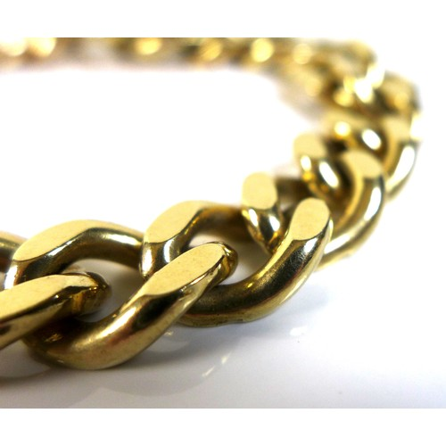 399 - A 9ct gold kerb link bracelet, with safety chain attached and press clasp, links 12 by 4mm, FM, Lond...