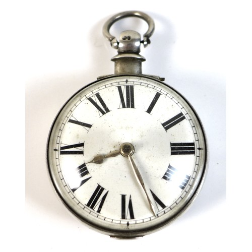 249 - A Victorian silver pair cased pocket watch, with white enamel face, Roman numerals and gilt hands, t...