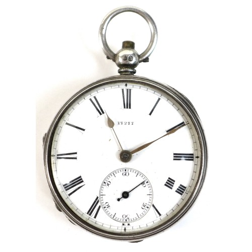 229 - A Victorian silver open faced pocket watch, the white enamel face with Roman numerals, subsidiary se...