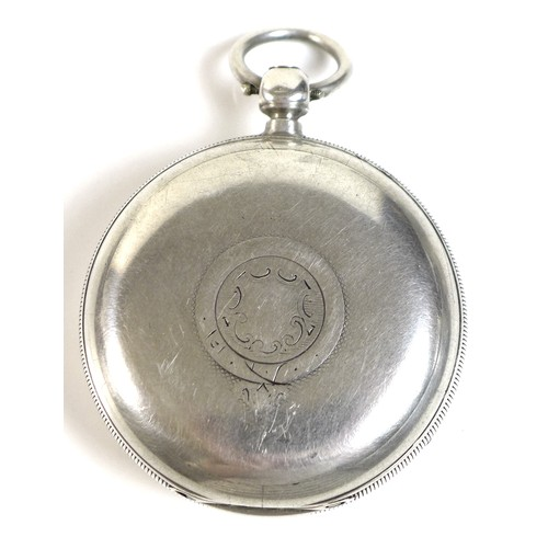 230 - A Victorian silver open faced pocket watch, the white enamel face with Roman numerals, subsidiary se...