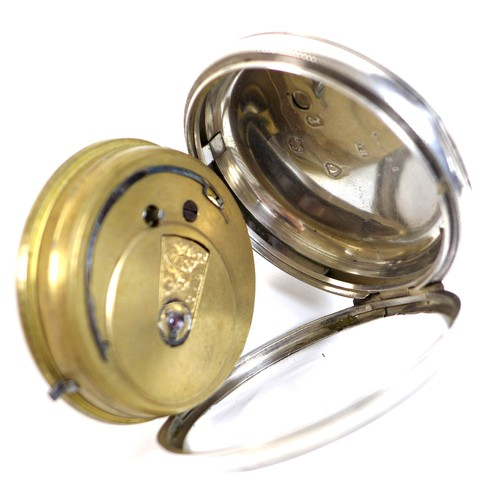 231 - A Victorian silver open faced pocket watch, silvered face with engine turned chapter ring set with g...