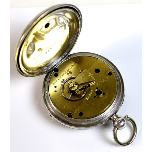 232 - A 19th century Waltham silver cased pocket watch with key wind Pinion movement, the white enamel fac...