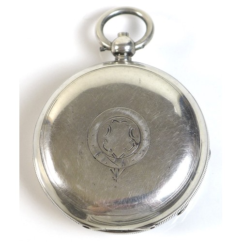 233 - A 19th century Waltham silver cased pocket watch with key wind Safety Pinion movement, the white ena...