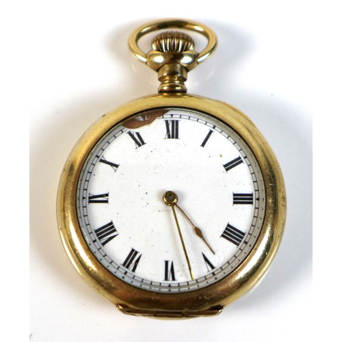 228 - A Waltham gold plated pocket watch, circa 1906, open faced, keyless wind, the white enamel dial with...