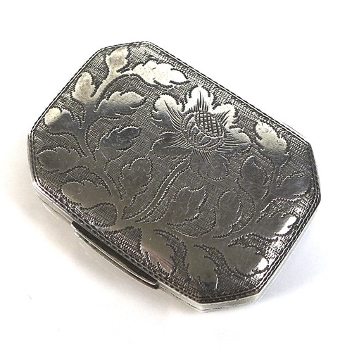 54 - A George III silver vinaigrette, of octagonal form with and engraved thistle to its top, a parcel gi...