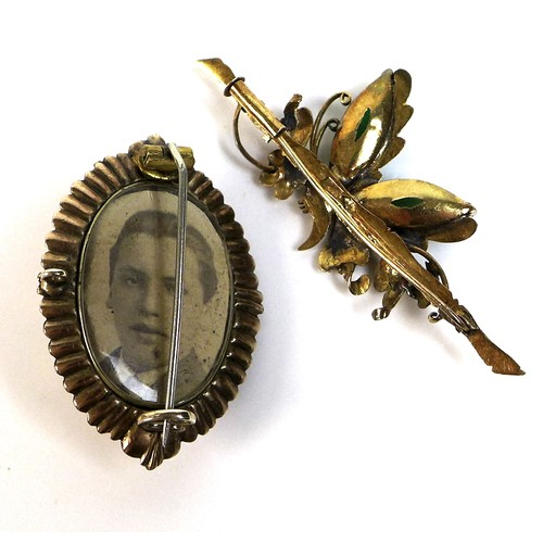 356 - An early to mid 20th century 14ct gold butterfly brooch with jade wings 5.3cm wide, 5.3g, and a yell...