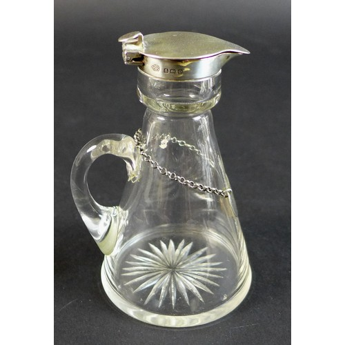 56 - A George V silver topped whisky noggin, Hukin & Heath Ltd. Birmingham 1913, 7 by 6.5 by 10.5cm high,...