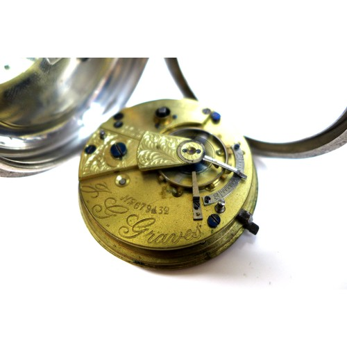 240 - An Edward VII silver open faced pocket watch, J. G. Graves, Sheffield, key wind, the engraved silver...