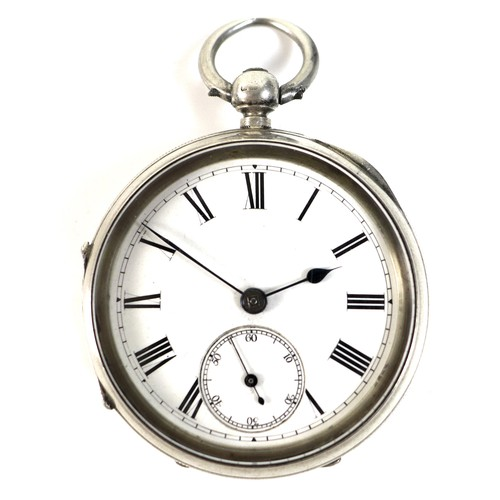 241 - A Victorian silver open faced pocket watch, the white enamel dial with black Roman numerals, minute ...