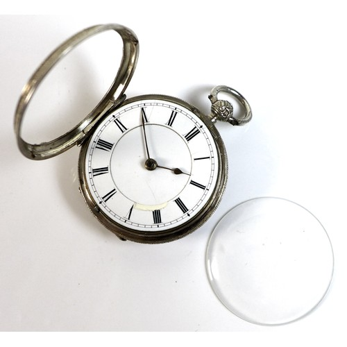 242 - A Victorian silver open faced pocket watch, key wind, engraved with foliate, floral and scrolling de...