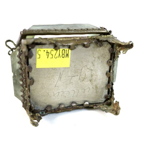 195 - A French early 20th century brass pocket watch display case, with bevelled glass sides and to hinged...