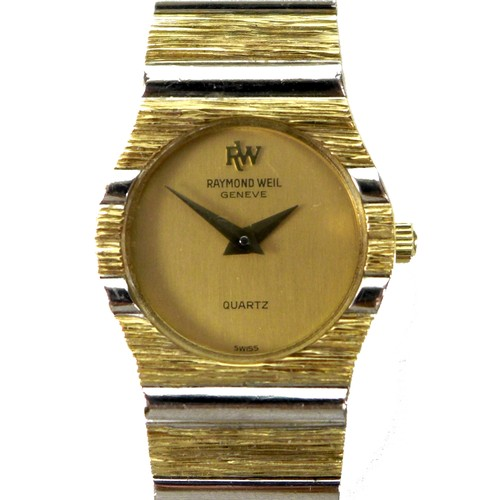 207 - A vintage Raymond Weil 18K gold plated lady's wristwatch, the circular brushed gold dial with black ...