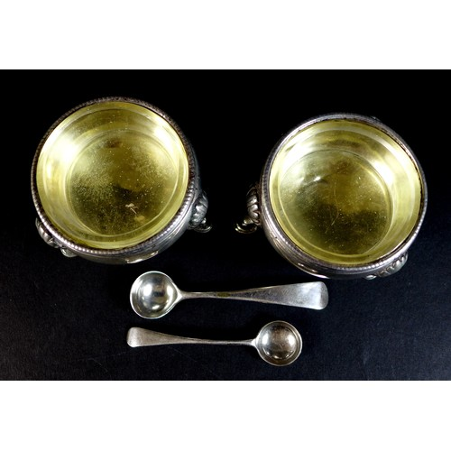 52 - A pair of early George III silver cauldron salts, with parcel gilt interiors, both with engraved mon...