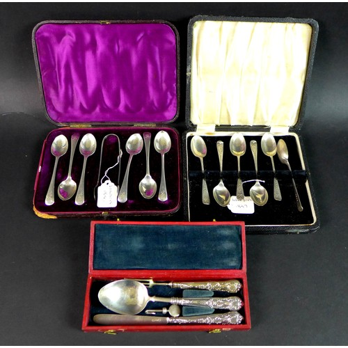 29 - Three cased sets of George IV and Victorian silver flatware, comprising a George IV cased associated...