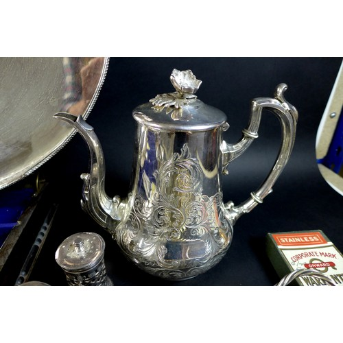 6 - A collection of silver plated items, including a large oval galleried silver plated tray with four b...