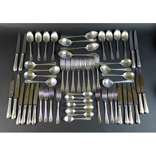 1 - A set of silver plated flatware, by Cooper Ludlum, in Classic Bead pattern, eight place settings, co...