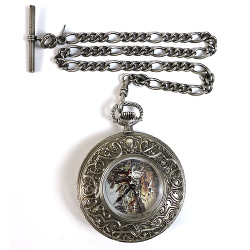 234 - A Franklin Mint silver half hunter pocket watch and silver Albert Chain, the half hunter with huntin...