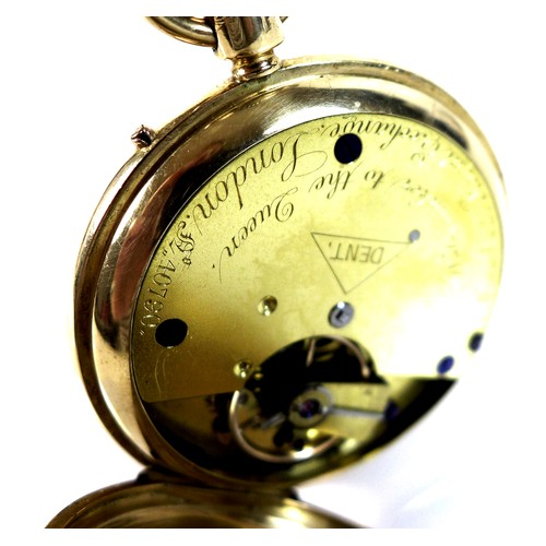 261 - A Victorian Dent 18ct gold cased full hunter pocket watch, number 40790, keyless wind, the white ena...