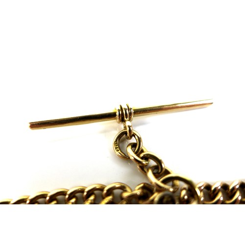 404 - An 18ct gold Albert, the curb link chain complete with T bar, each link individually marked, 37.8g, ...