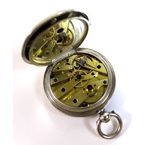 239 - A late 19th century Baume & Company 'Fine Silver' cased pocket watch, full hunter, key wind, silvere...