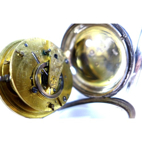 237 - An early Victorian silver cased pocket watch, the verge escapement movement not named but numbered 1...