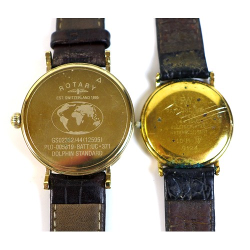 206 - A Rotary Dolphin Standard gentleman's wristwatch, with quartz movement, yellow metal case, 32mm dial...