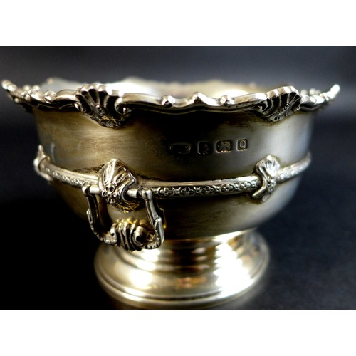 88 - A small silver rose bowl of pedestal form with scalloped rim and lyre handles, William Henry May, Bi...
