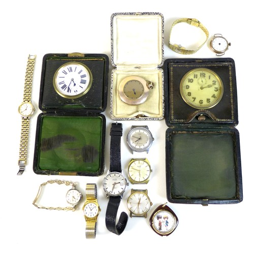 198 - A group of 20th century wristwatches, including two lady's watches, one with a rolled gold strap, th...