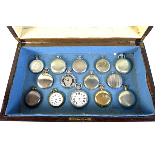 227 - A group of fourteen pocket watches, including a keyless wind, 14ct rolled gold cased hunter by the L...