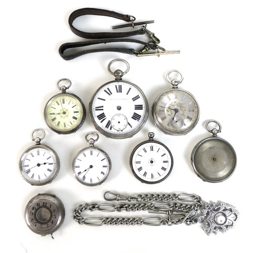 245 - A group of silver cased pocket watches, including a late 19th century example with silvered sunburst...