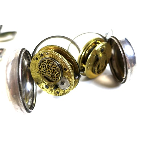 246 - Two pair cased, verge escapement pocket watches, each with enamel dials, and Roman numerals, and bul...