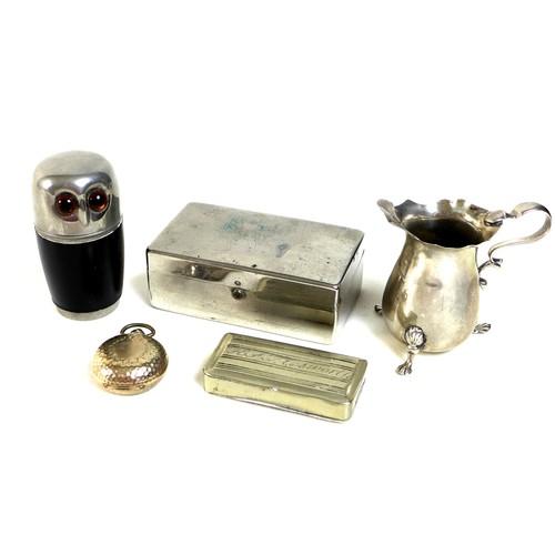 5 - A silver cream jug raised on three pad feet, Walker and Hall,  Sheffield 1907, 1.25toz, 7.2 by 3.6 b...