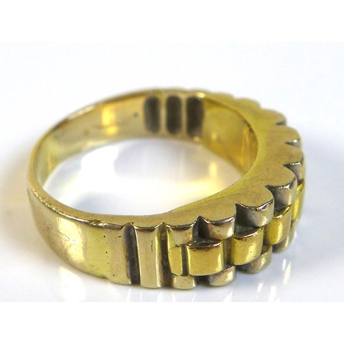 378 - A yellow gold gentleman's ring, with modern sectional design, previously resized, marks rubbed but t...