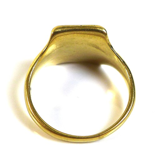 350 - An 18ct gold signet ring, the rectangular field blank with white gold border, size R, 9.6g.