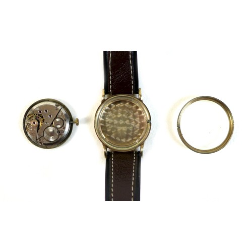 211 - A 9ct gold cased Rotary wristwatch, with Arabic numerals to the champagne coloured dial and subsidia...