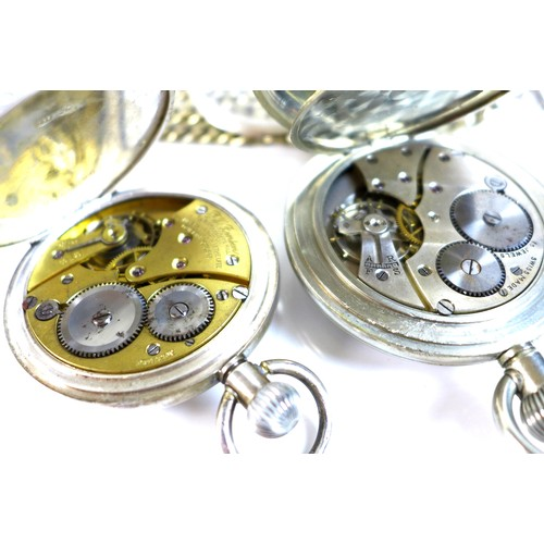248 - A silver cased half-hunter keyless wind pocket watch, Swiss made, marked to the enamel face for J. W...