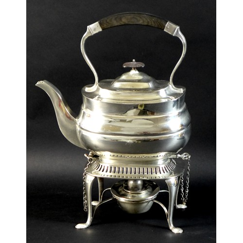 171 - An Edward VII silver spirit kettle on stand, of London shape with ebonised bow shaped handle, side h...