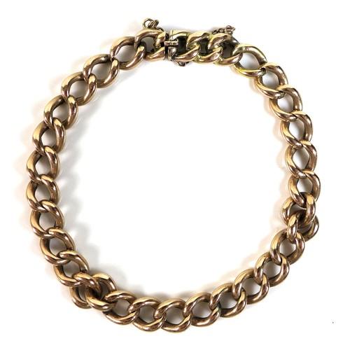 372 - A 15ct rose gold kerb link bracelet, 17cm long, 11.4g.
