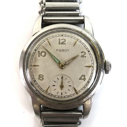 205 - A vintage Tissot stainless steel gentleman's wristwatch, circa 1960, circular silvered dial with lum...