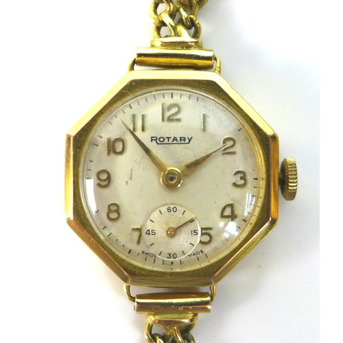 210 - A Rotary 9ct gold lady's wristwatch, circa 1960, octagonal case, circular silvered dial with gold Ar...