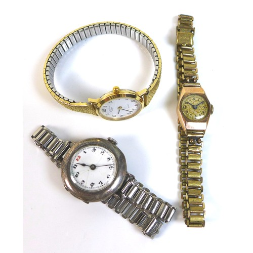203 - A group of three vintage lady's wristwatches, comprising a 9ct gold cased wristwatch, with circular ...