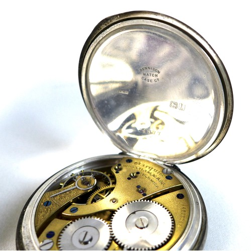 247 - A group of three pocket watches and a WWII pocket compass, comprising a 1940s silver cased open face...