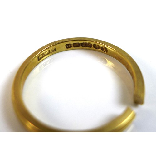 349 - A 22ct gold wedding band ring, a/f cut, WWLd, London 1952, approximately size L when held together, ...