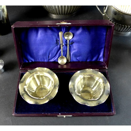 3 - A group of silver plated items, comprising a 19th century horn beaker with shield shaped cartouche a...