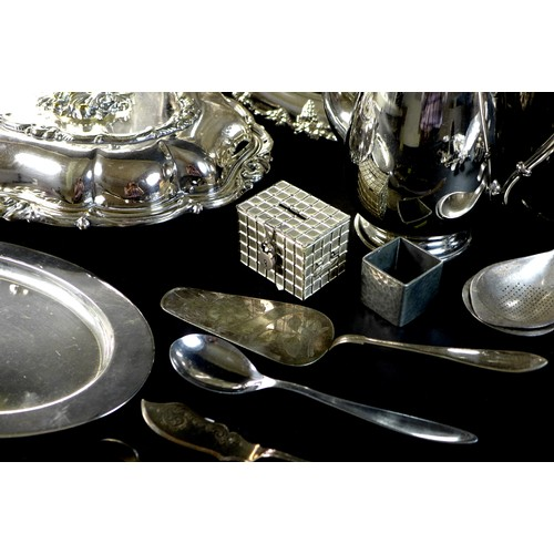 2 - A collection of silver plated wares, including Danish items, a presenttion tray and another, a bowl,...