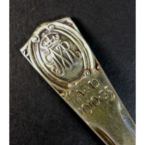 18 - A set of six George V silver Jubilee teaspoons, terminals engraved 'AD 1910-35', Northern Goldsmiths...