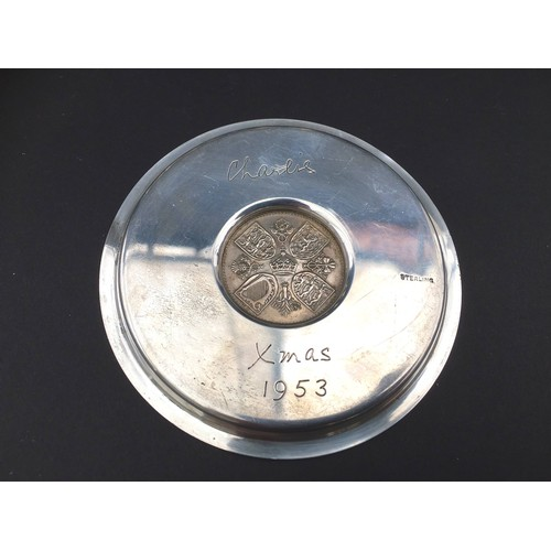 11 - A silver dish inset with 1953 Five shilling coin, 10.7 by 0.7cm high, 2.8toz overall, and a group of...