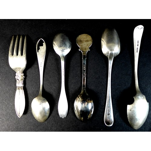 25 - A collection of English, American and Danish silver spoons, including a George III silver table spoo...